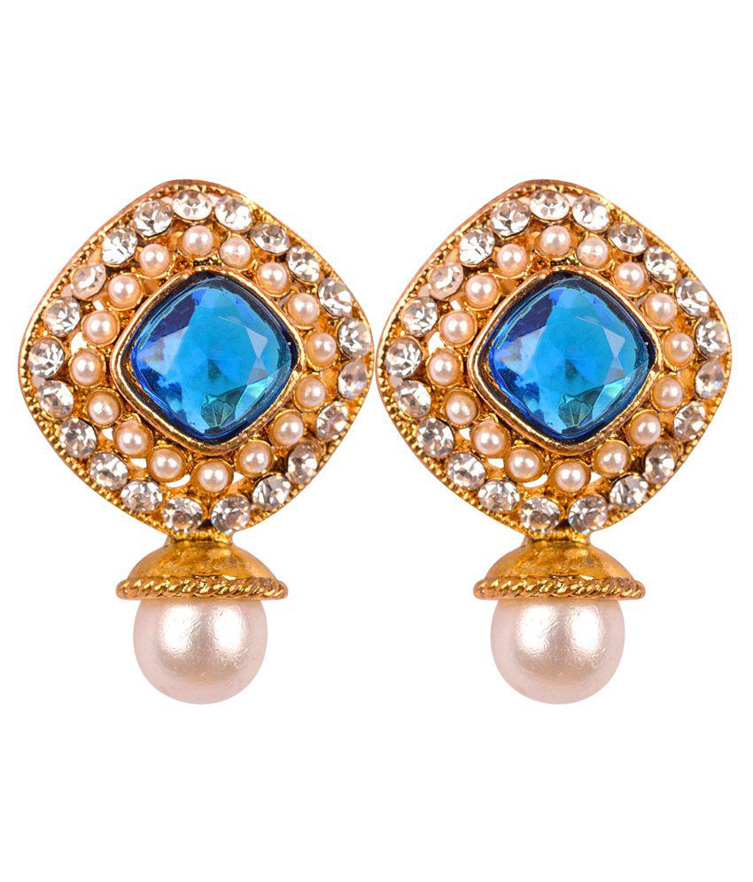 Ag Jewels Blue Pearl Drop Earrings