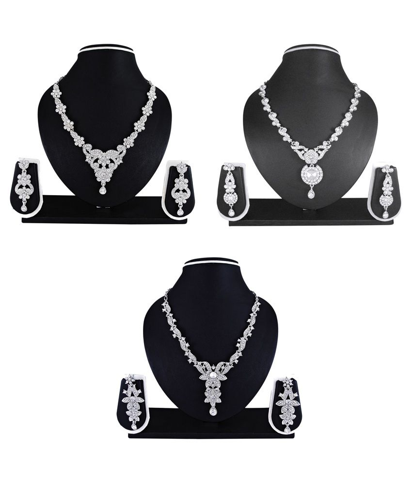 Atasi International Multicolour Austrian Diamond Necklace Set - Combo of 3