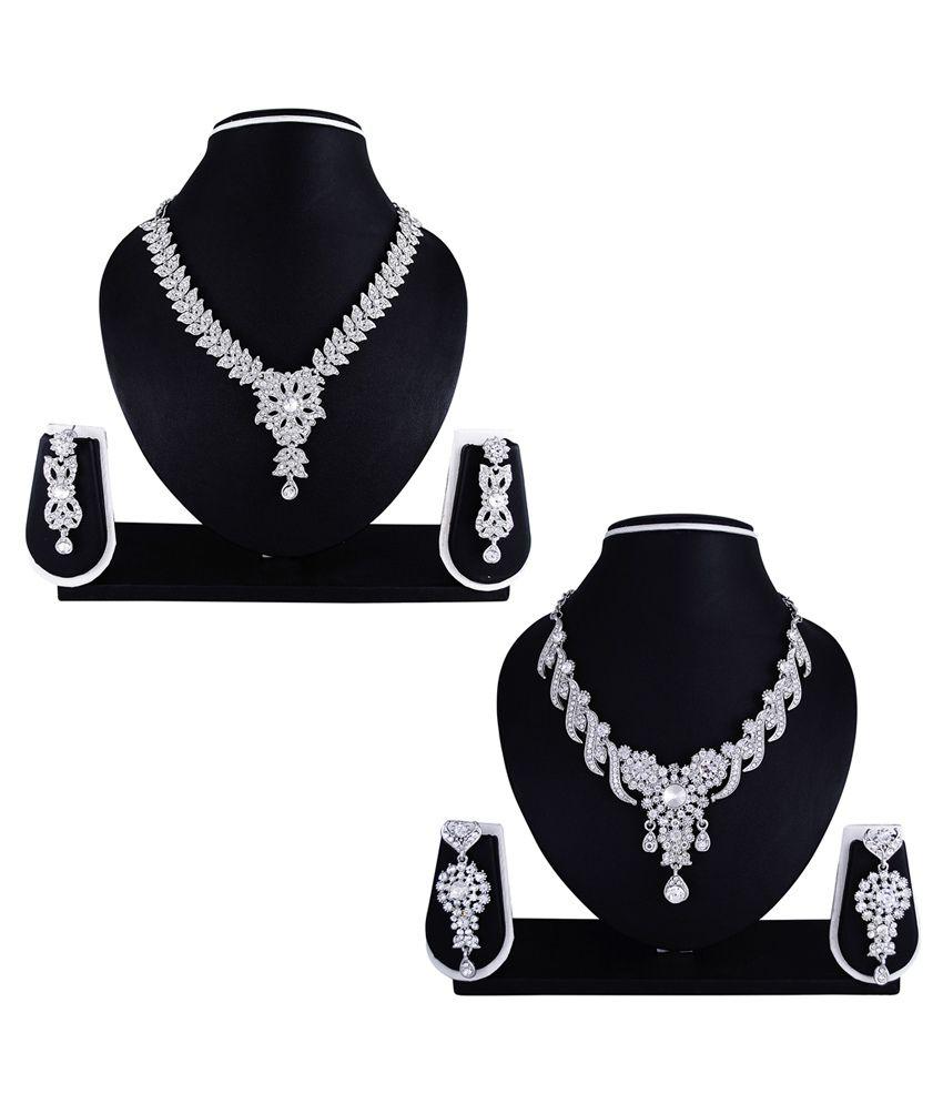 Atasi International Multicolour Austrian Diamond Necklace Set - Combo of 2