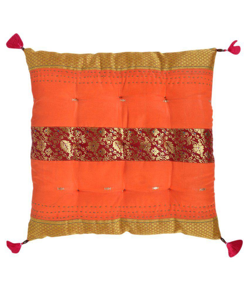 Rajrang Orange Silk Chair Cushion Cover