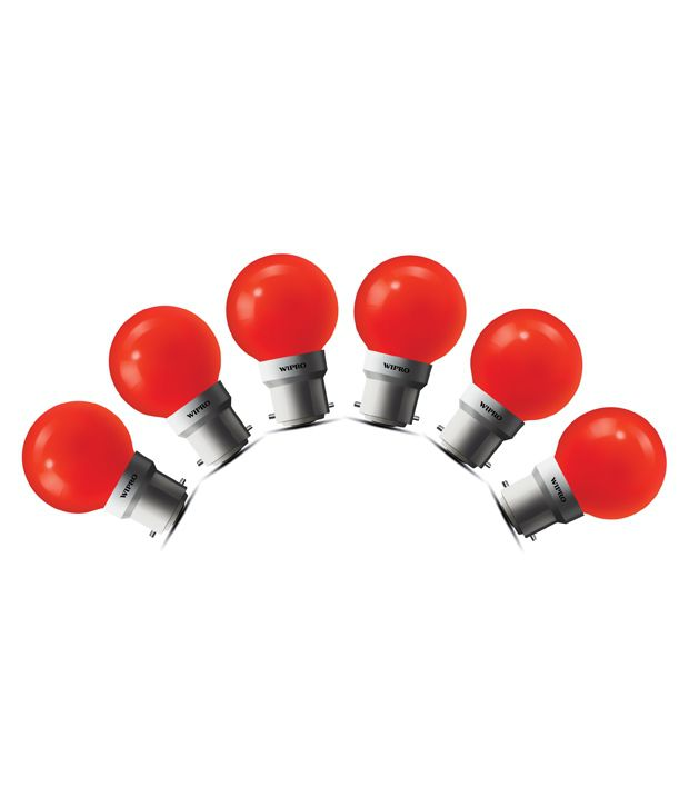 Wipro 0.5W LED (Pack of 6) Deco Bulb- Red