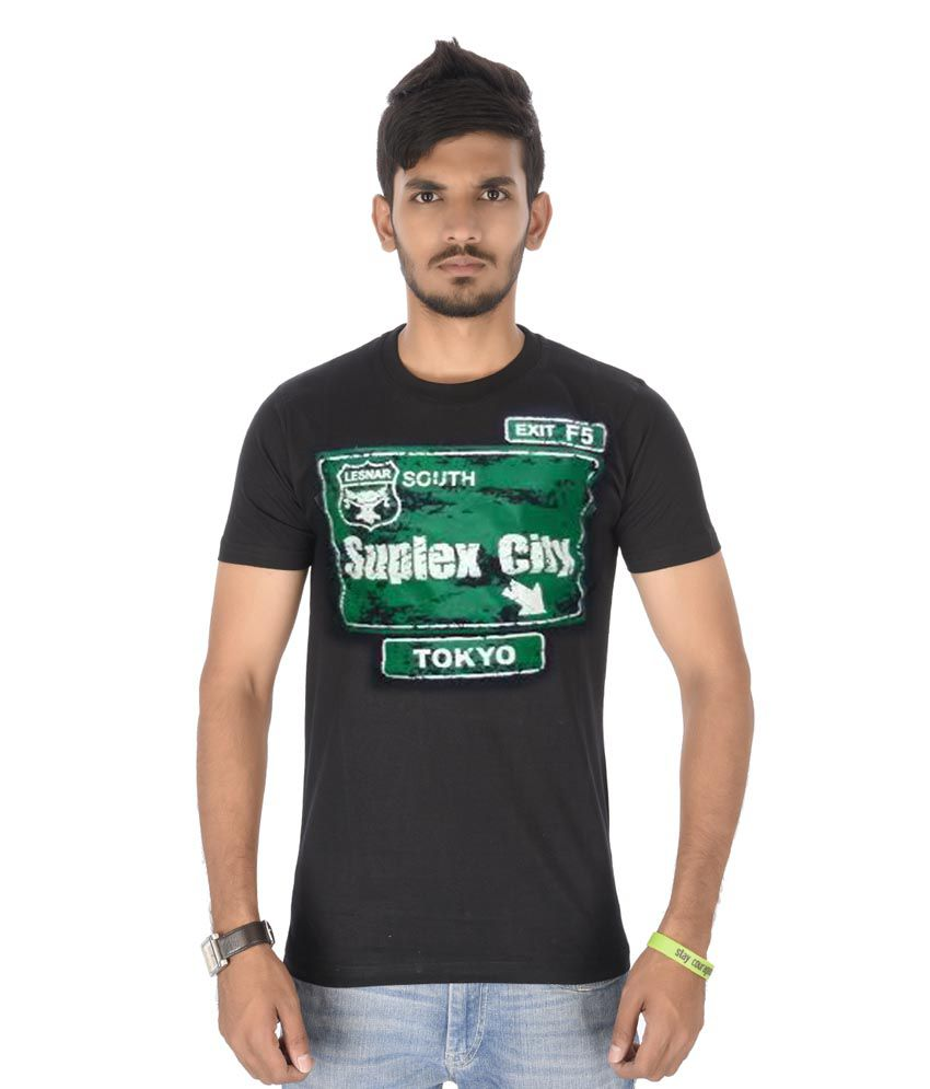 Black t shirt buy online - Attitude Black Cotton T Shirt