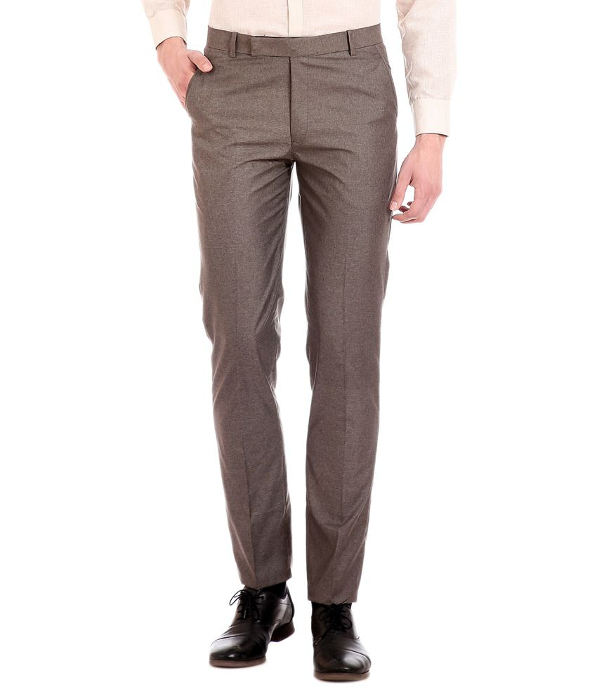 Flyjohn Brown Regular Fit Formal Trouser
