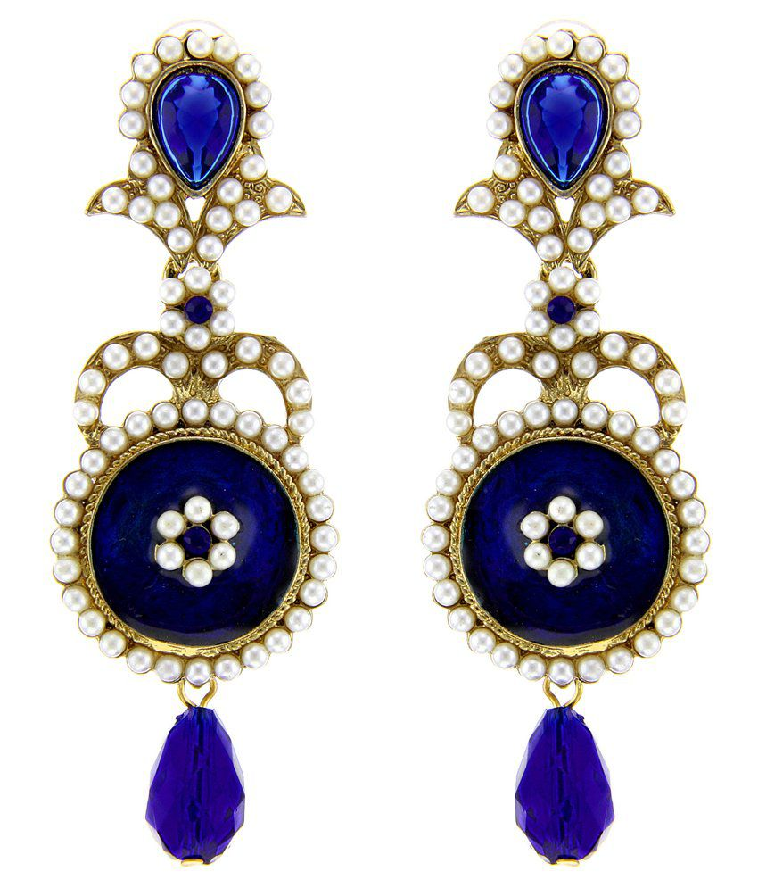 Tradisyon Bollywood Celebrity Inspired Blue Dangler Earring By Kaizer