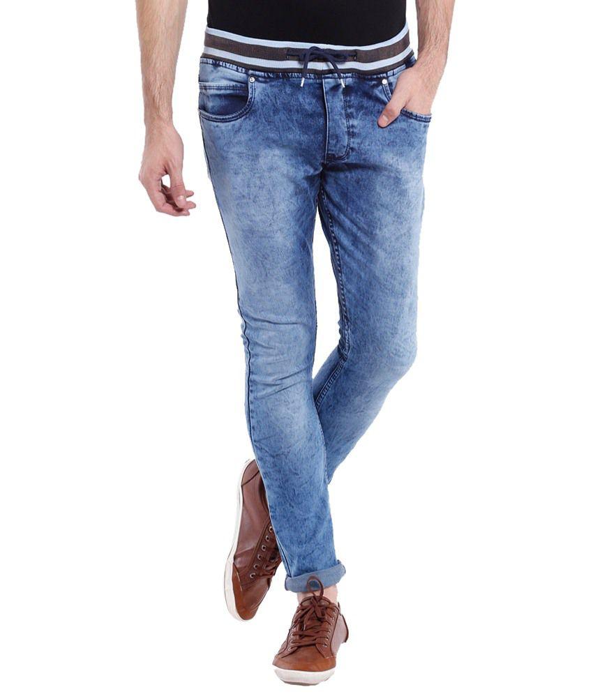 Vintage Deep Blue Slim Fit Jeans for Men