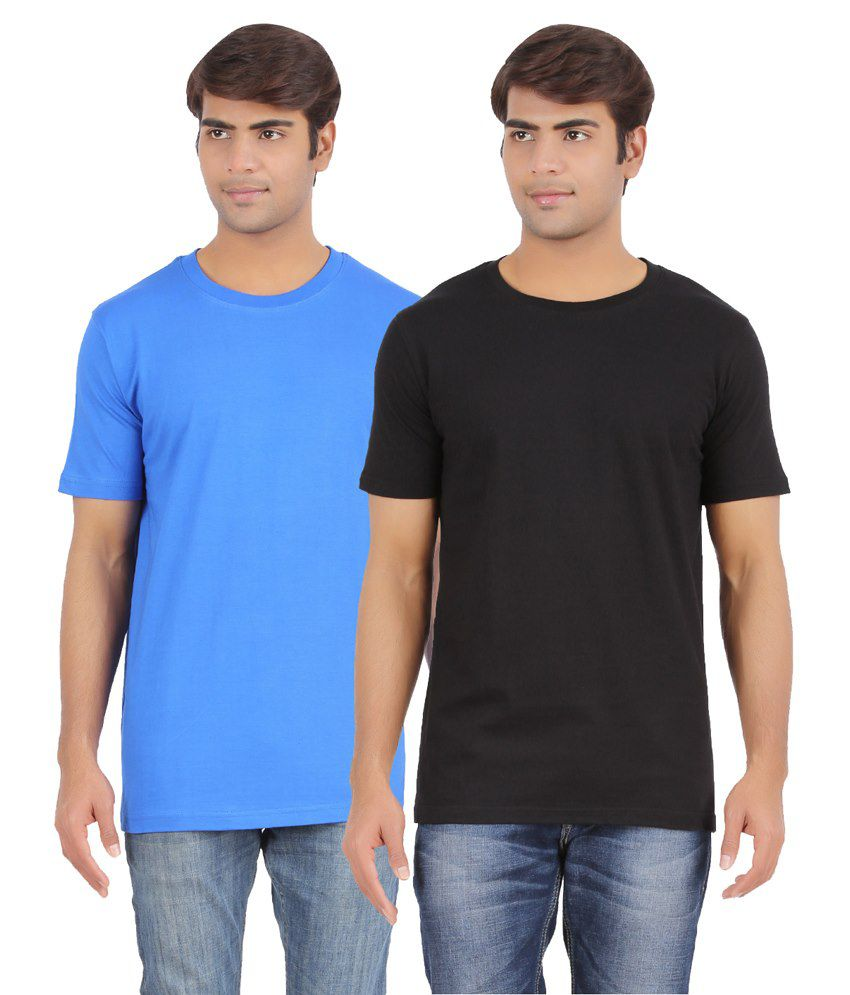 AP'Pulse Blue & Black Cotton T Shirt Pack Of 2