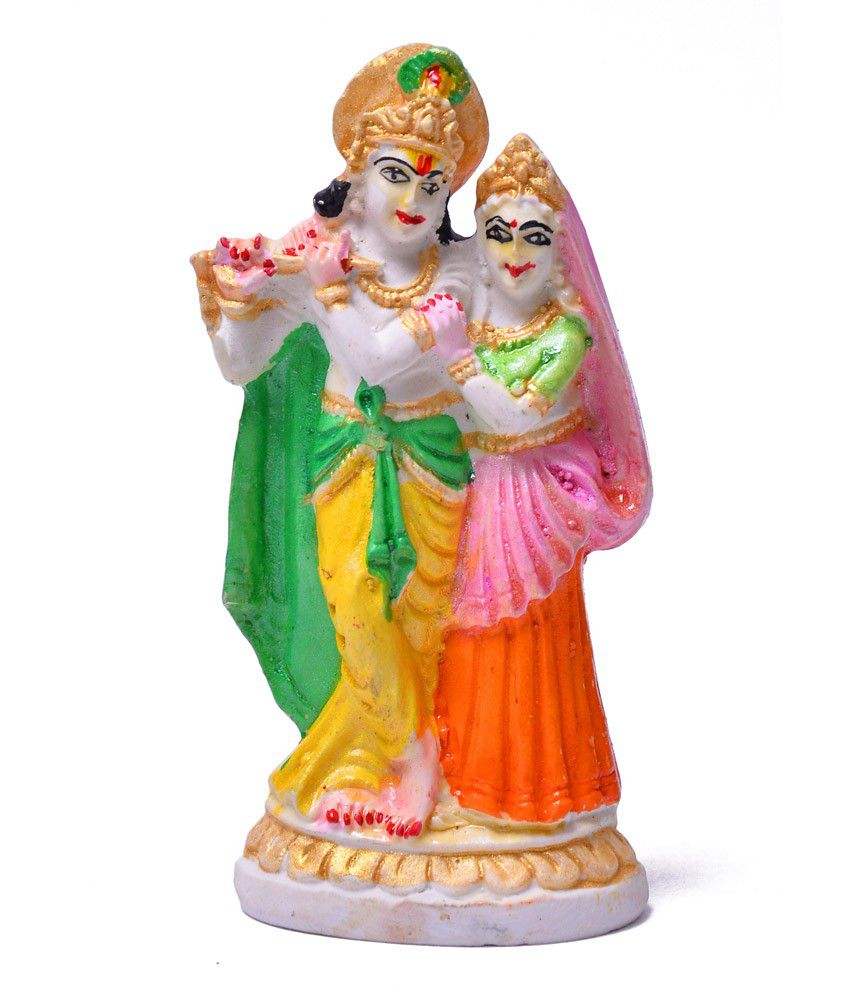 Artist Haat White Marble Radha Krishna Idol With Freebies