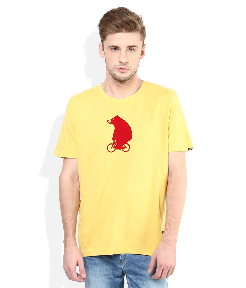 Giordano Yellow Solid Round Neck T Shirt
