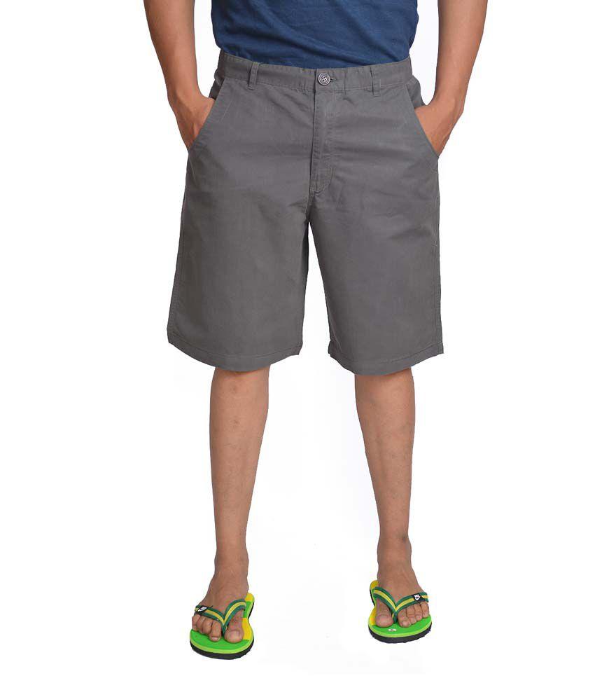 Wajbee Grey Cotton Blend Solid Shorts