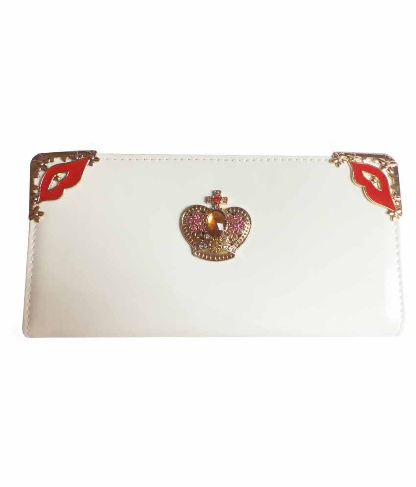 Casanova Fashion Industries White & Golden Regular Wallet