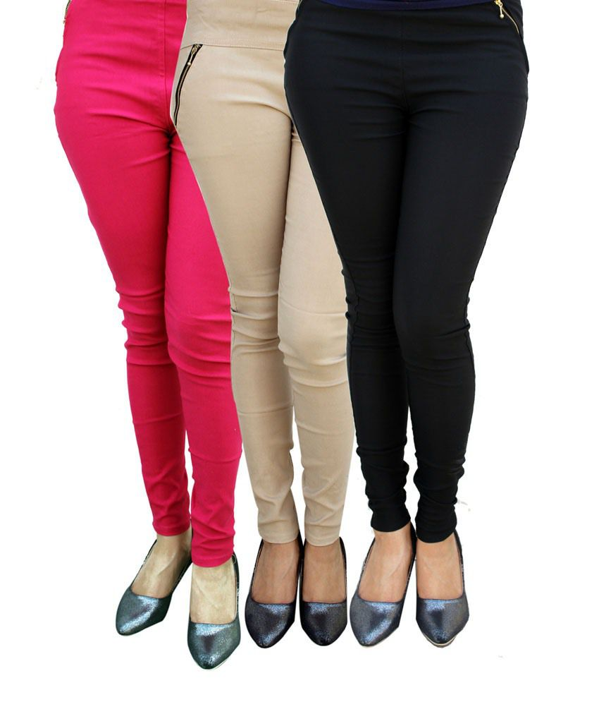 01d2e736d04bd Buy Stylobby Multi Cotton Jeggings Online at Best Prices in India - Snapdeal