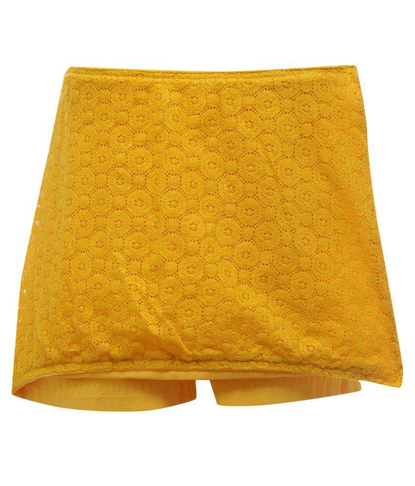 UFO Yellow Cotton Casual Skirt