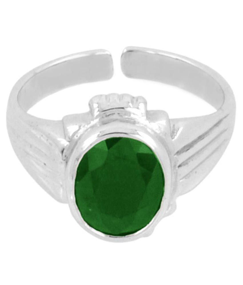 Avaatar Coloured Stone Silver & Green 92.5 Ring