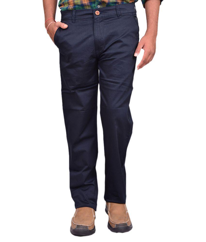 Riddhi Enterprises Blue Cotton Blend Slim Fit Trouser