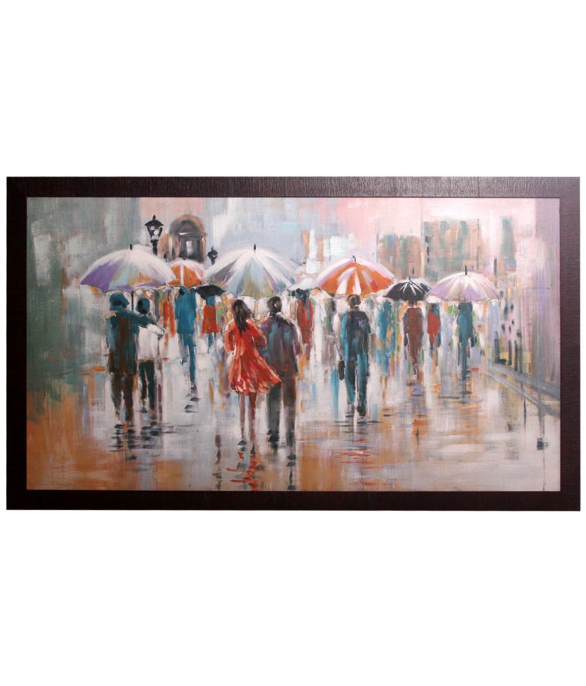 Srikara Frames People walking brush strokes canvas painting of size 29inches by 51inches - High Quality Framing