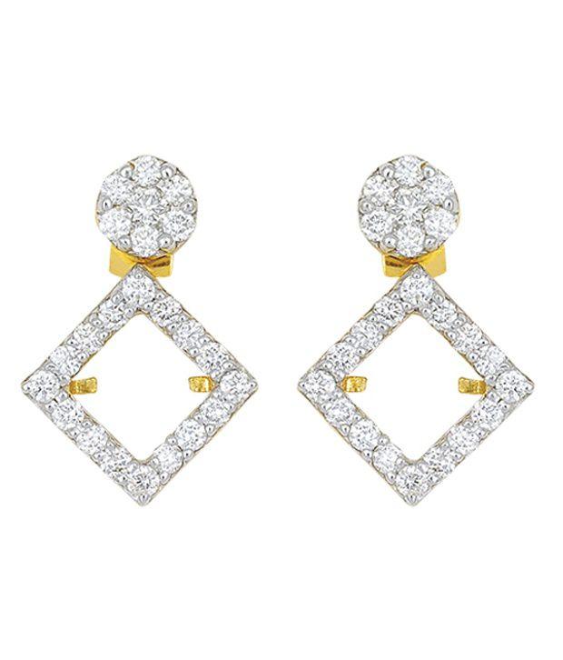 Corona 18 Kt Yellow Gold Diamond Drop Earrings