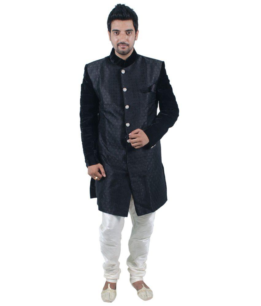 Kurta & White Pyjama for Men - Buy Rajwada Set of Black Kurta & White...