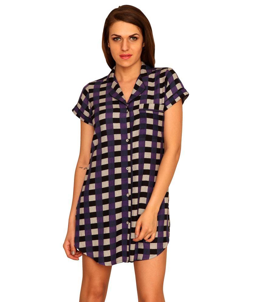 Sleepins Purple Cotton Night Shirts
