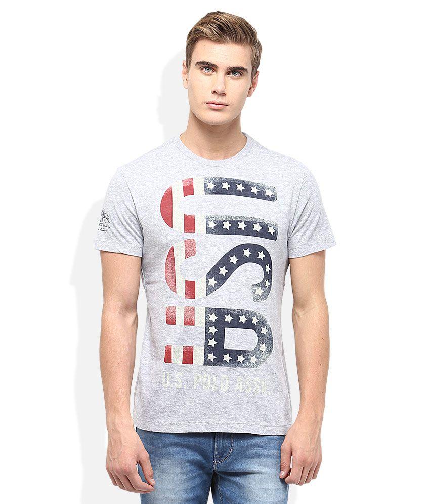 U.S.Polo Assn. Grey Round Neck T-Shirt