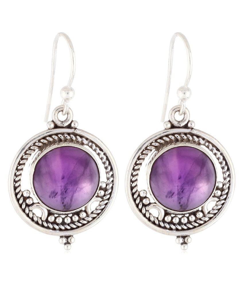 Aarohee 92.5 Sterling Silver Amethyst Earrings