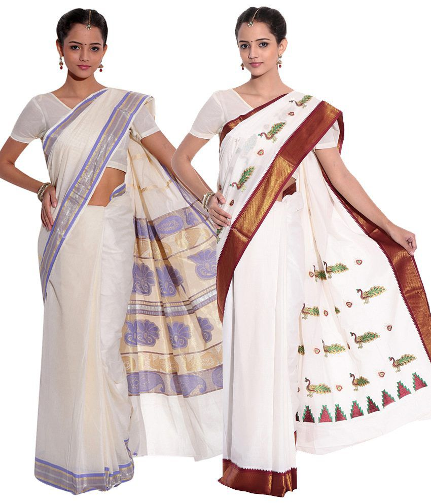 Fashion Kiosks Kerala Kasavu Cotton Saree with Matching Blouse (Pack of 2)