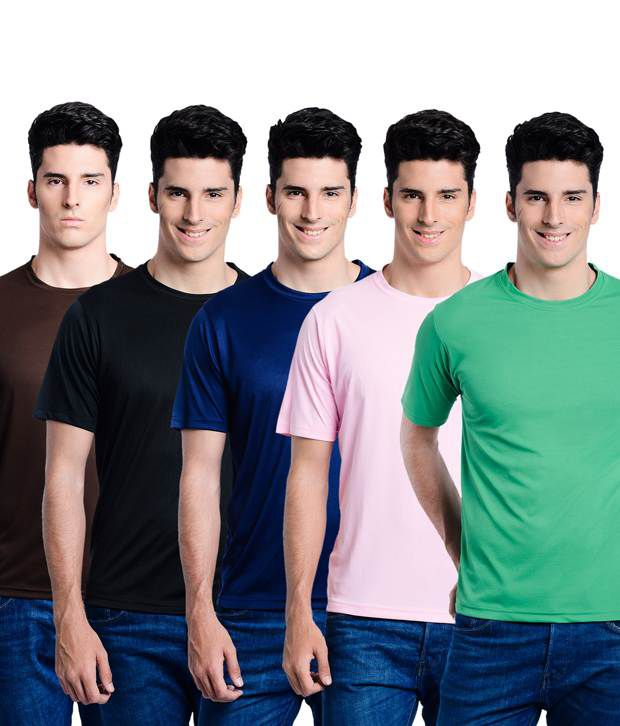 Superjoy Multicolour Polyester Round Neck T Shirts - Set of 5
