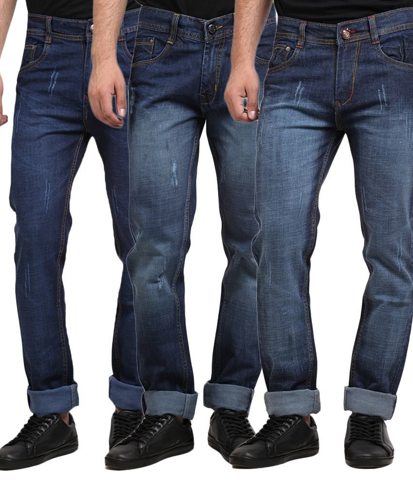 X-cross Blue Regular Fit Jeans - Pack of 3