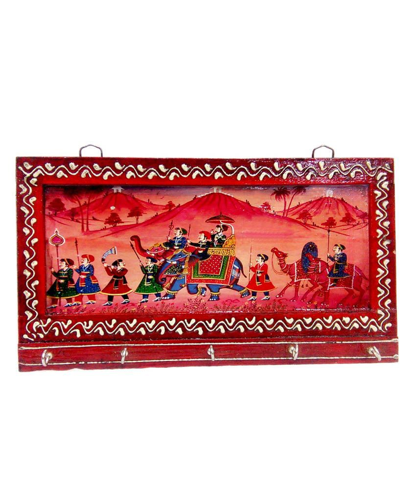 Fab Rajasthan Red Wooden Embossed Work And Traditional Hand Painting 5 Key Holder