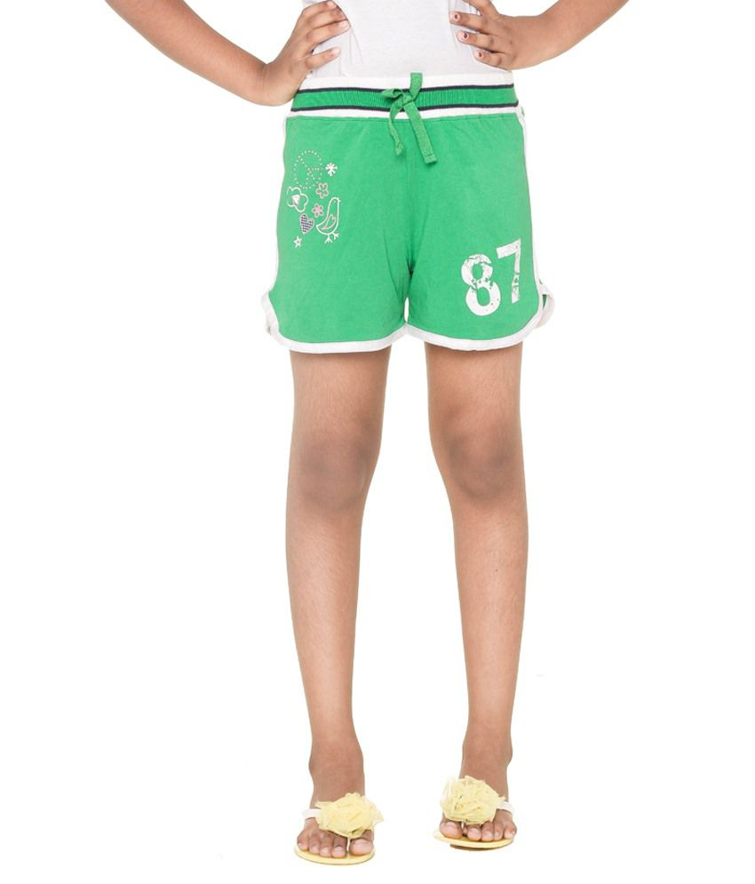 Menthol Green & White Cotton Shorts