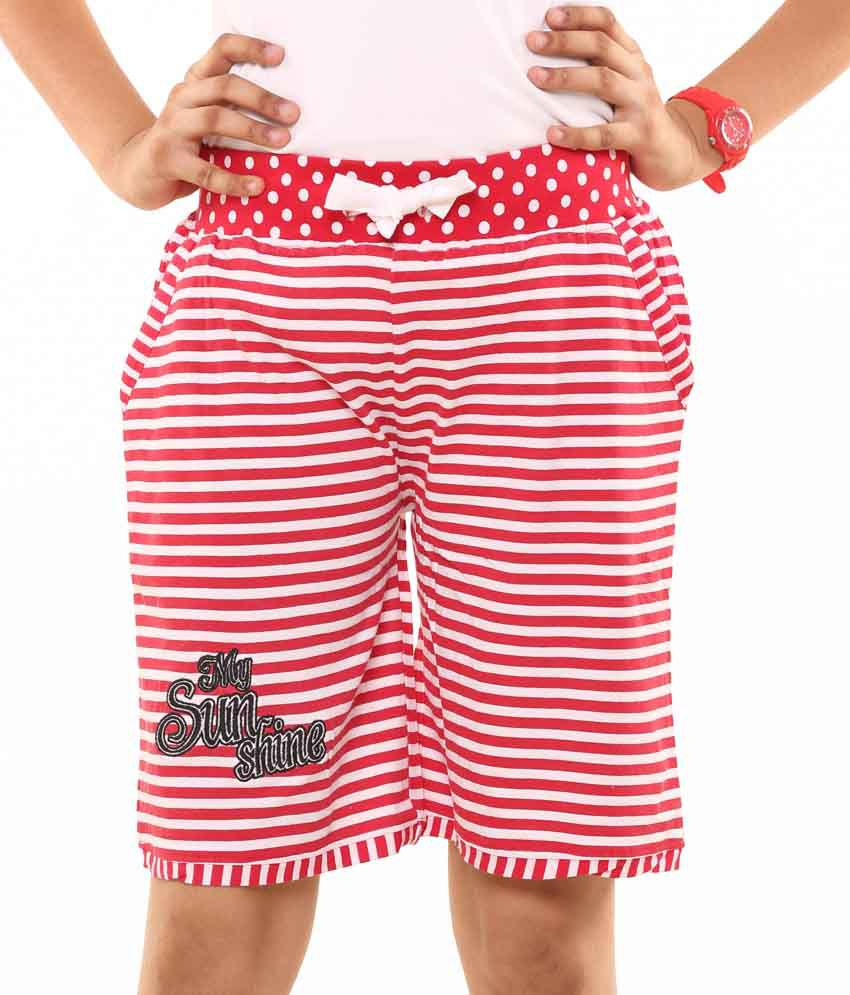 Menthol Red Cotton Stripe Shorts