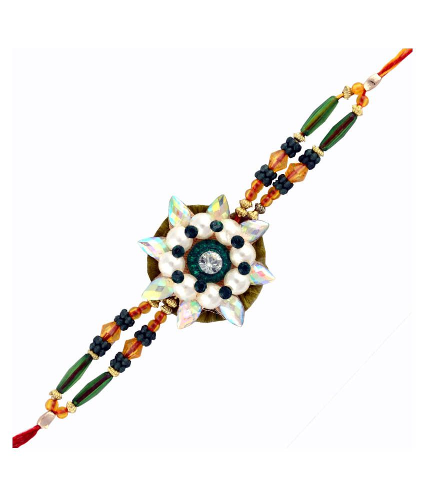 Send Rakhi Send Rakhi Multicolor Fabric Sunflower Jewel Rakhi