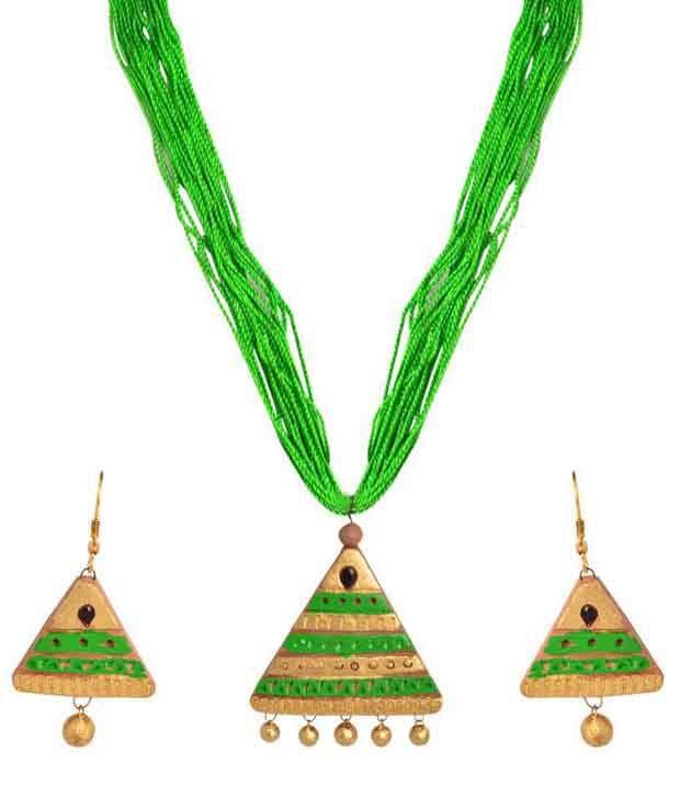 Swanvi Green Antique Contemporary Alloy Necklace Set