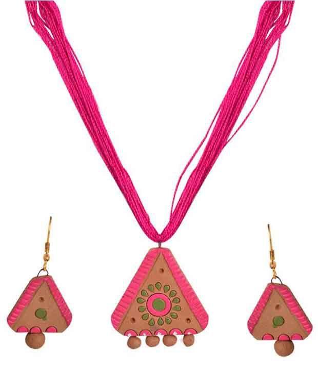 Swanvi Pink Antique Contemporary Alloy Necklace Set
