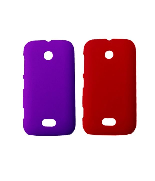Winsome Deal Combo of Purple and Red Plastic Back Covers for Lumia 510 (Pack of 2)