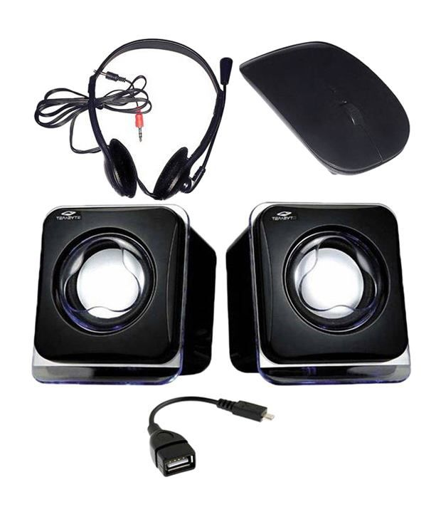 DealMart Combo of Black Wireless Mouse, Speaker, Headphone With Mic & OTG Cable