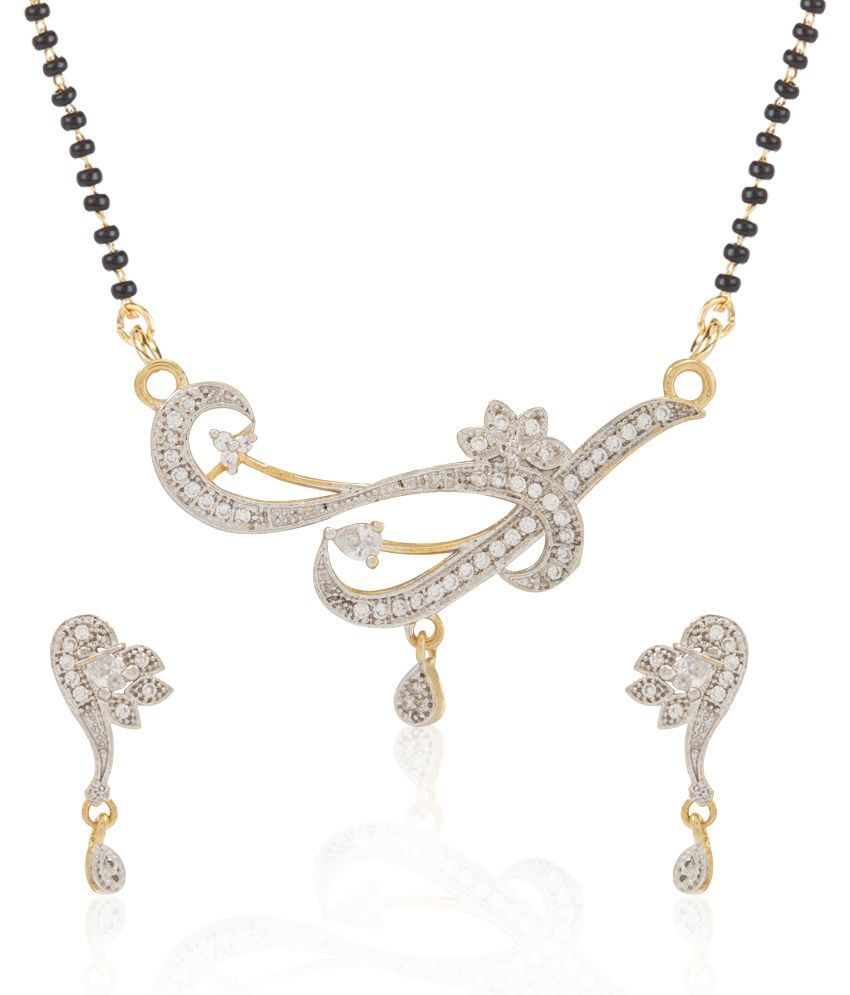 Jewels Galaxy White Imperial American Diamond Mangalsutra Set