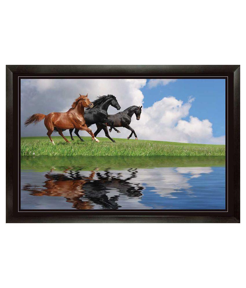 Mataye Graphics Multicolour Acrylic Animal Painting
