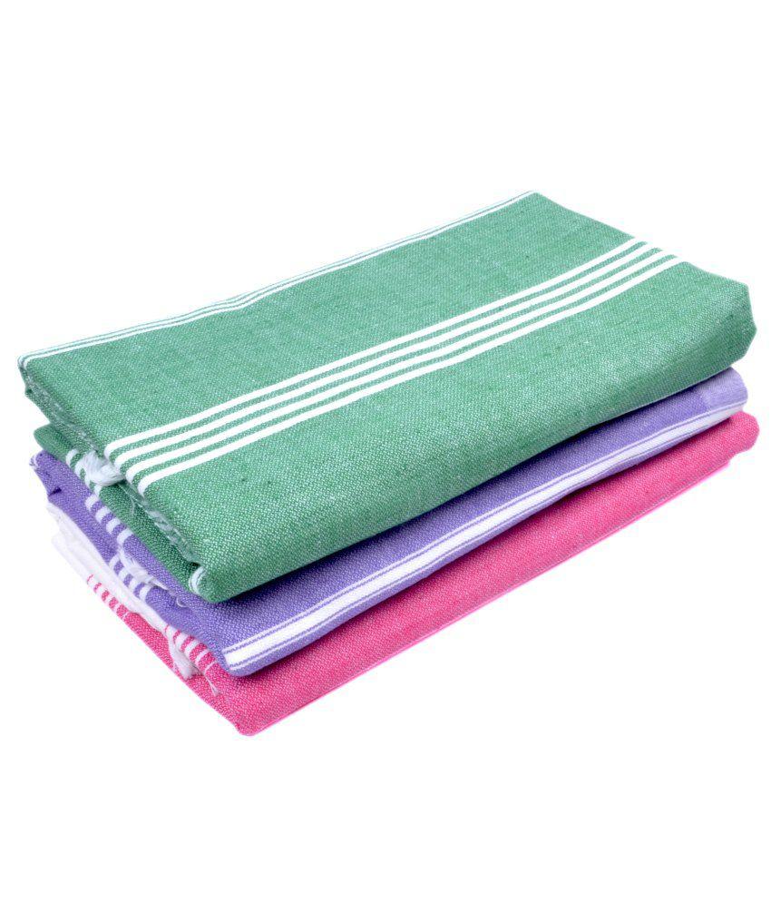 Sathya Set of 3 Cotton Bath Towel - Multi Color