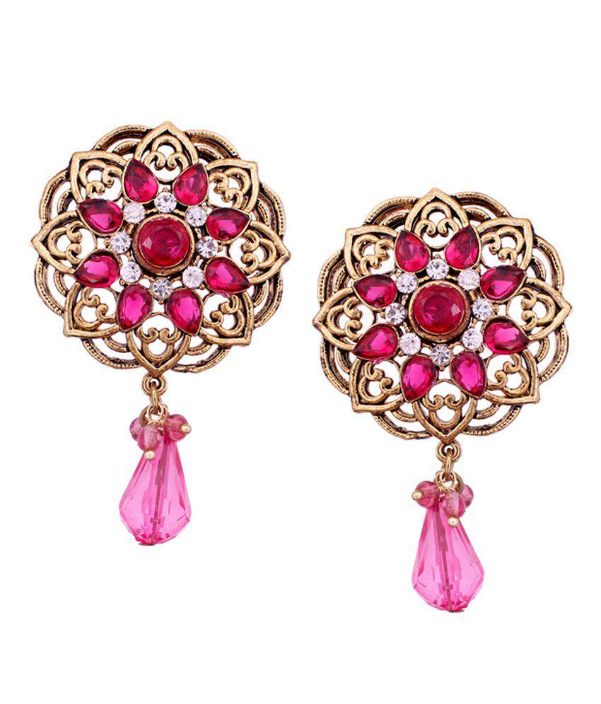 Vendee Fashion Sunshine Pink Alloy Drop Earrings