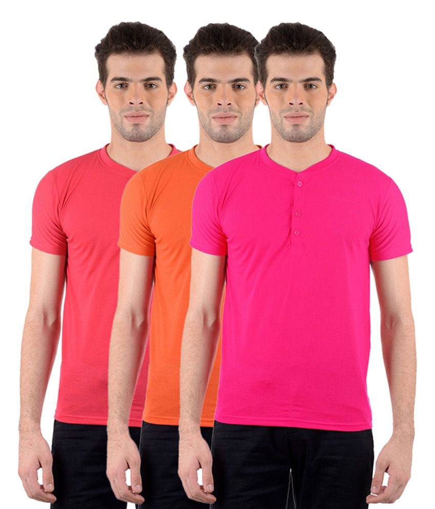 GDivine Men's Henley Red, Pink & Orange T-Shirts (Pack of 3)