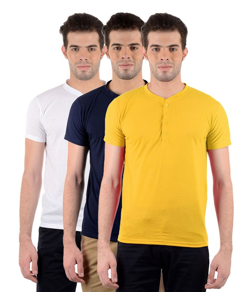 GDivine Men's Henley White, Yellow & Dark Blue T-Shirts (Pack of 3)