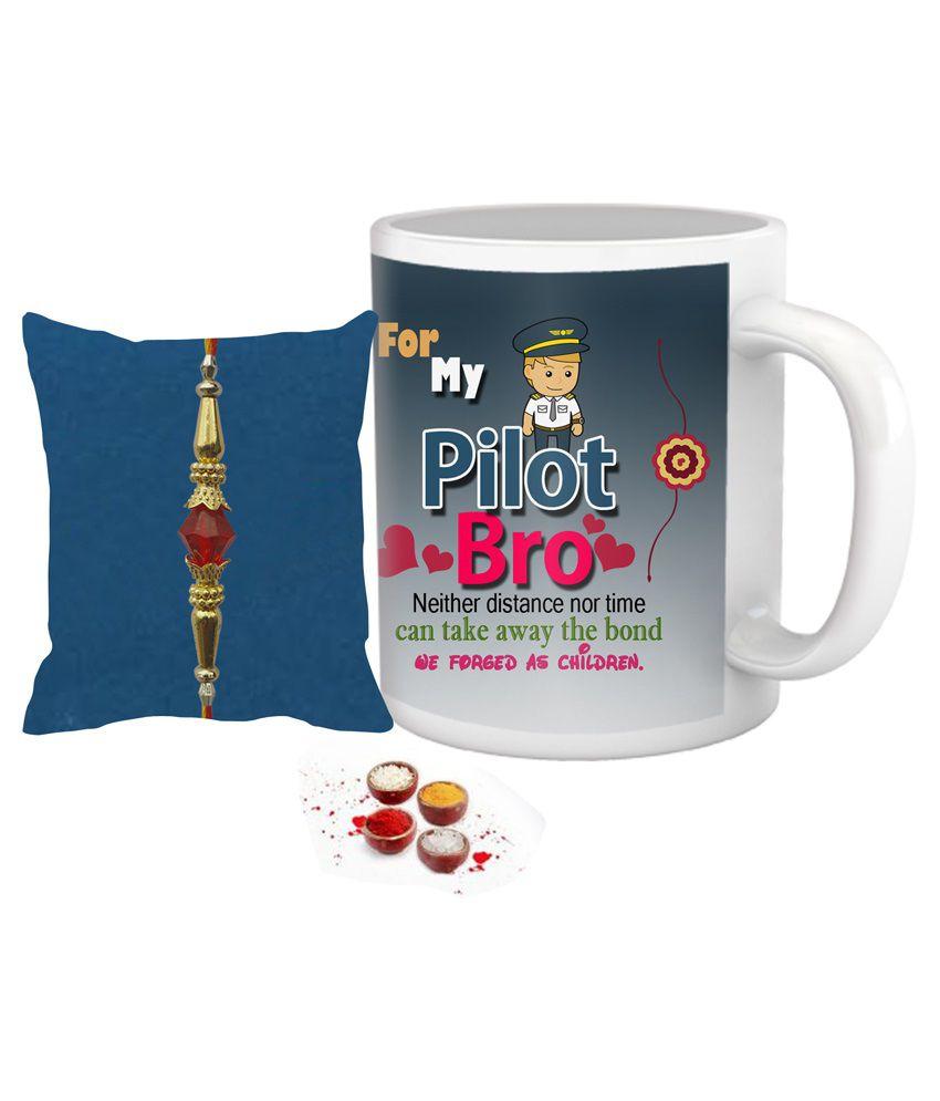 Rakhi Gift For Rakshabandhan Brother's Gift Coffee Mug Rakhi And Roli Chawal Design 17