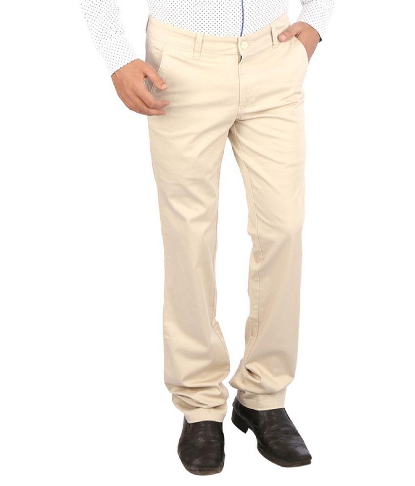 Appollo White Cotton Lycra Trouser