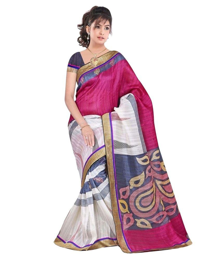 Fashion Designer Sarees Pink Bhagalpuri Silk Saree Buy Fashion Designer Sarees Pink Bhagalpuri