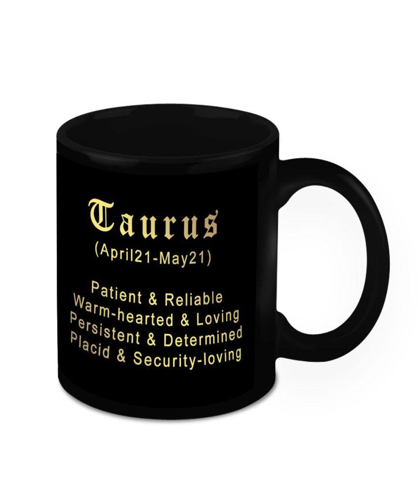 HomeSoGood Black Ceramic Fine Print Designer Mug - 1 mug