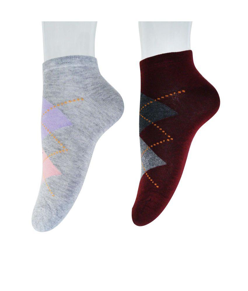 Nxt 2 Skn Multicolour Cotton Ankle Length Socks Pack Of 2