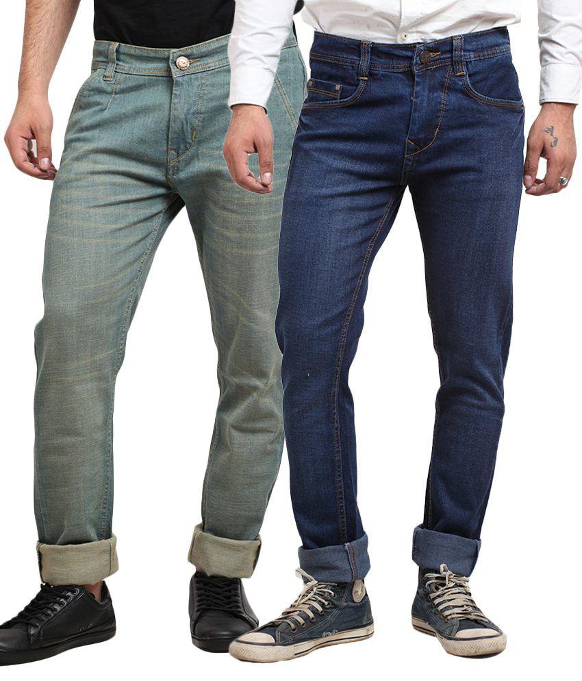 X-Cross Multicolour Cotton Blend Jeans - Pack of 2pcs