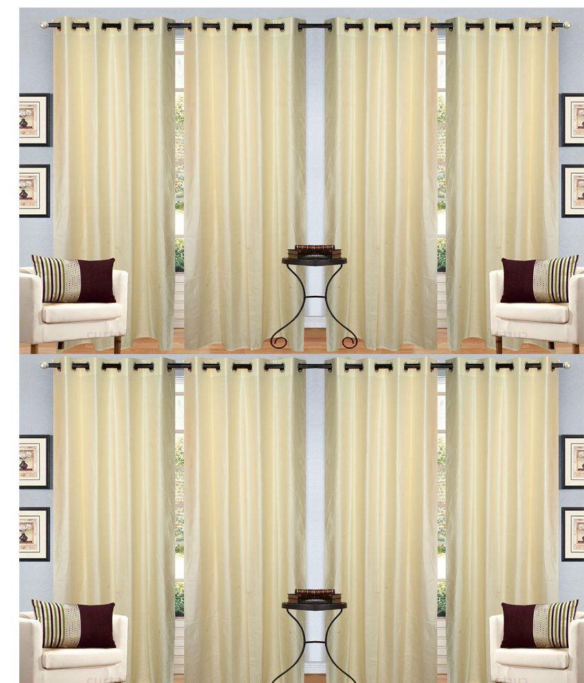 Handloom Hut Set of 8 Window Eyelet Curtains Solid Beige