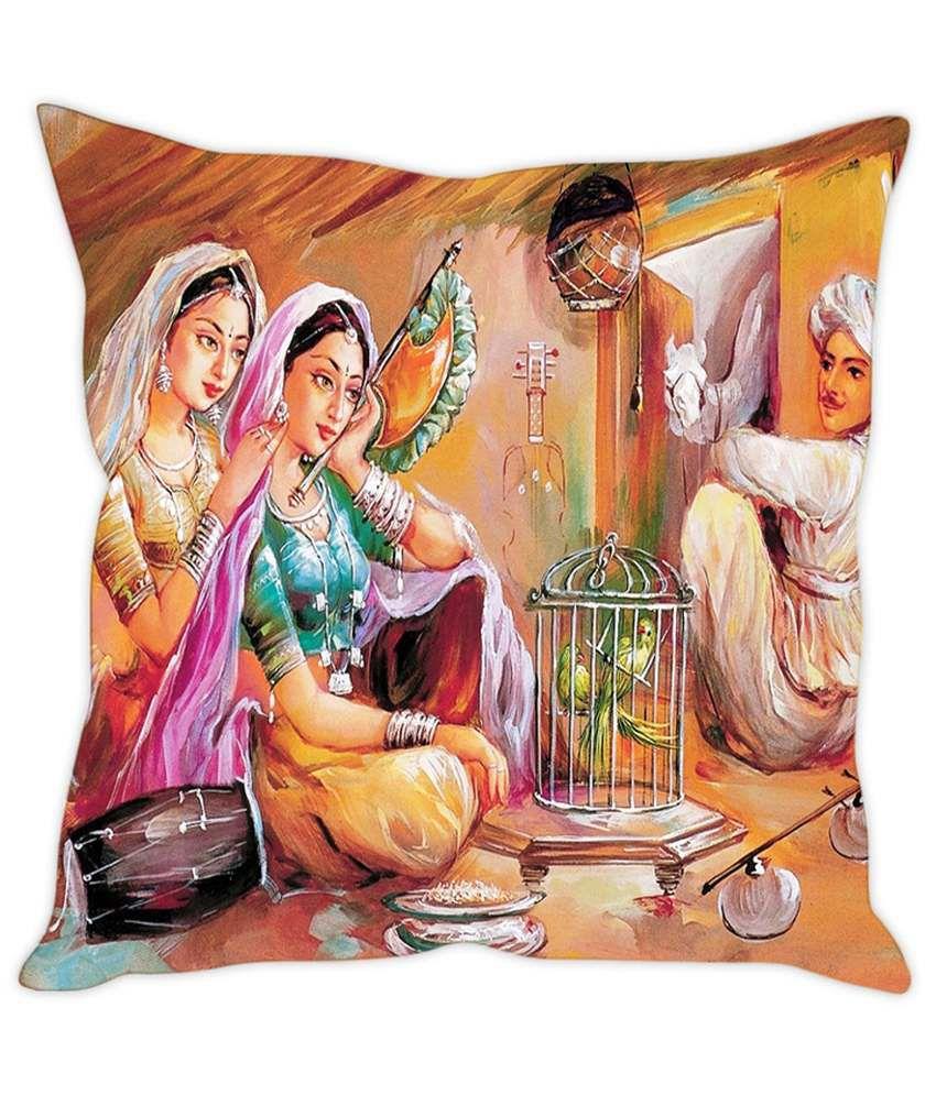 Rakesh Rajasthani Village Painting Printed Cushion Cover