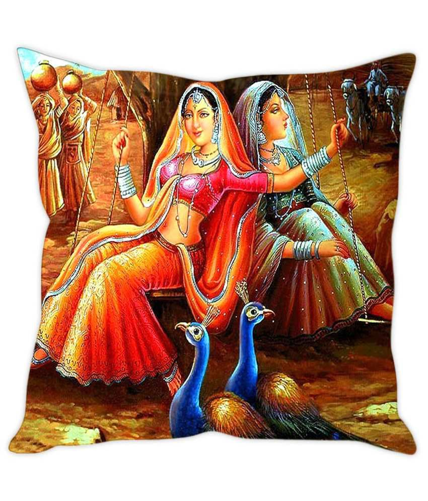 Rakesh Rajasthani womens Painting Printed Cushion Cover  Buy Online at Best  Price  6c03c4f07